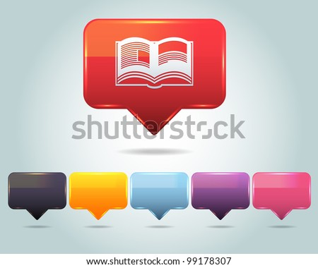 Vector Glossy Book Icon and Multicolored