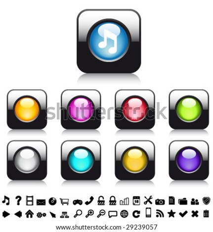 Vector glossy buttons with lLEDs and icons