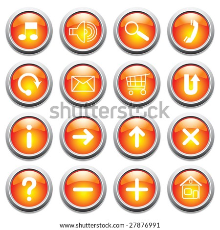 Vector glossy buttons with symbols.