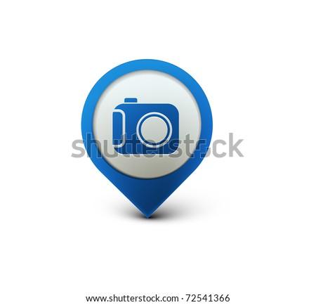 vector glossy camera web icon design element.