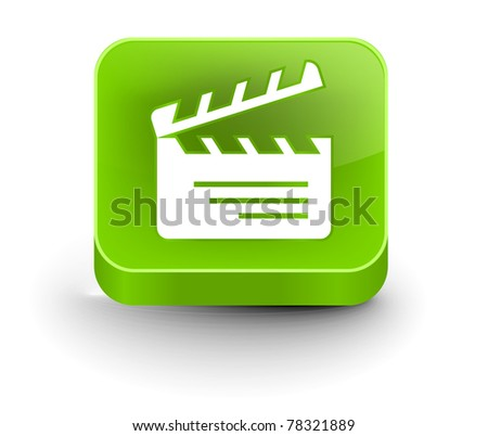 vector glossy clapper board web icon design element.
