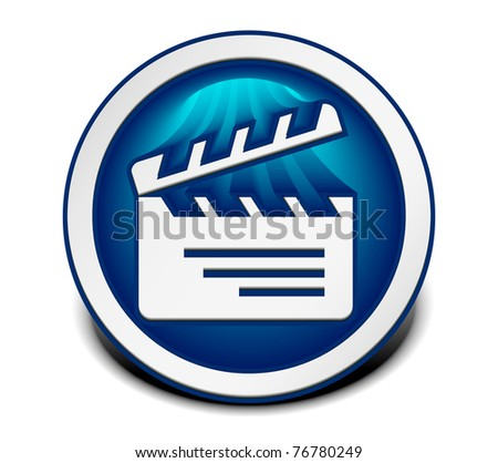 vector glossy clapper boards web icon design element. - stock vector