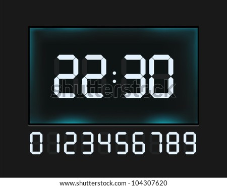 Vector glossy clock with blue glowing digital numbers