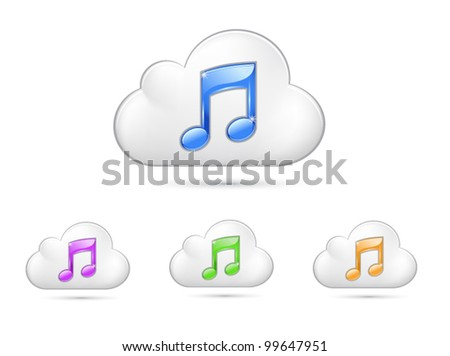 Vector glossy cloud icon with note symbol in different colors