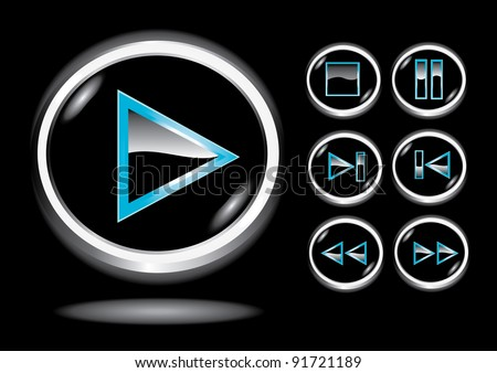 Vector glossy 3d glass player buttons set. Vector web 3d icons collection.