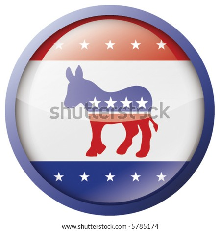 Vector Glossy Democrat badge/button