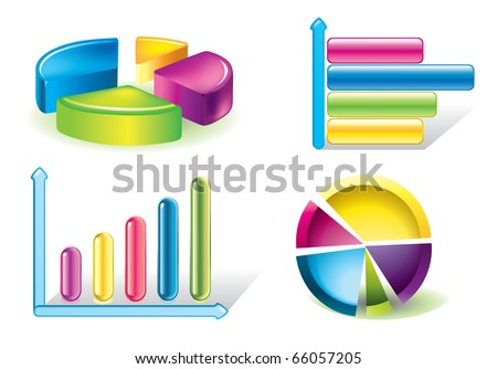Vector glossy diagram and pie charts