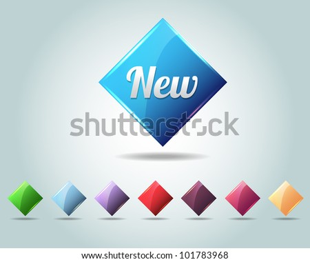 Vector Glossy Diamond New Icon/Button and multicolored