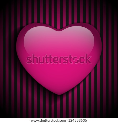 Vector - Glossy Emo Heart. Pink and Black Stripes