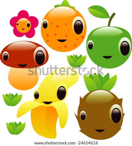 vector glossy fruits set - stock vector