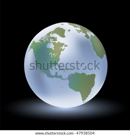 Vector glossy globe with reflection. World shows USA and America in EPS10