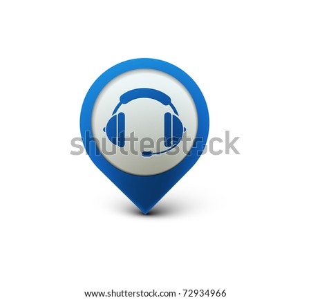 vector glossy headset web icon