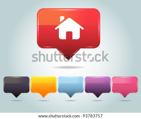 Vector Glossy home icon and multicolored