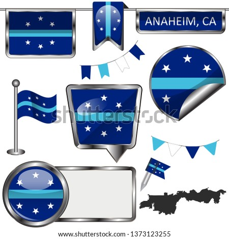 Vector glossy icons of flag of Anaheim, California in United States
