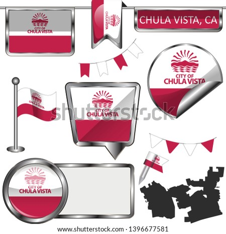 Vector glossy icons of flag of Chula Vista, California of the United States on white