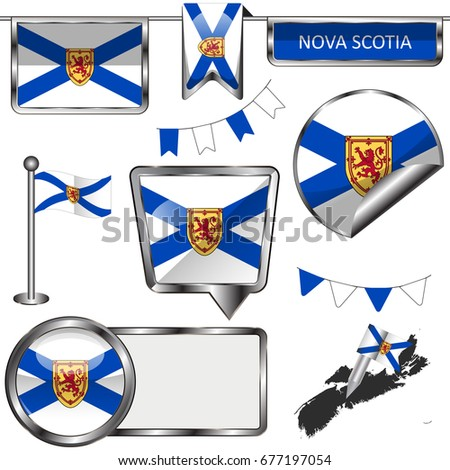 Vector glossy icons of flag of province Nova Scotia on white Stock fotó ©