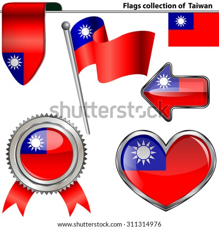 Vector glossy icons of Taiwanese flag #311314976