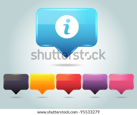 Vector Glossy Info Icon/Button and multicolored