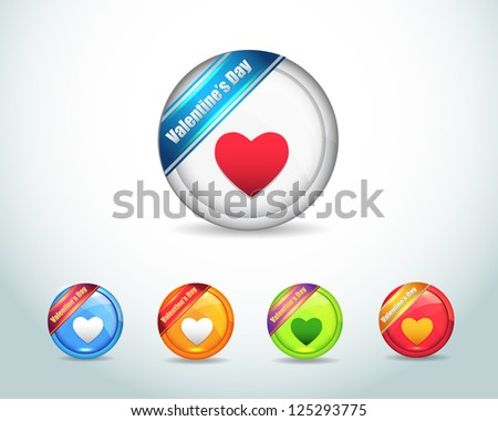 Vector Glossy Love Heart icon and multicolored