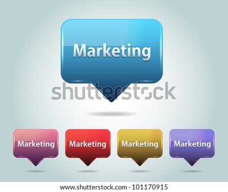 Vector Glossy Marketing  Icon/Button and multicolored - stock vector