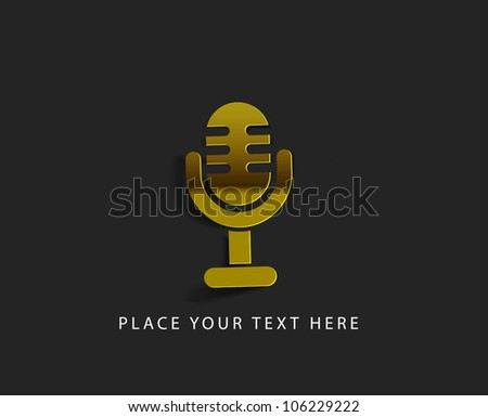 vector glossy mic web golden icon design element.