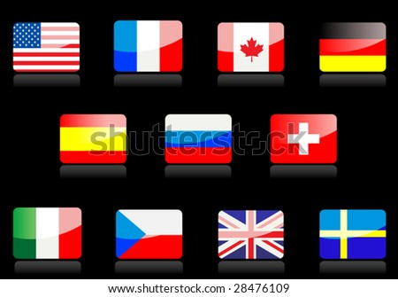 vector glossy national flags