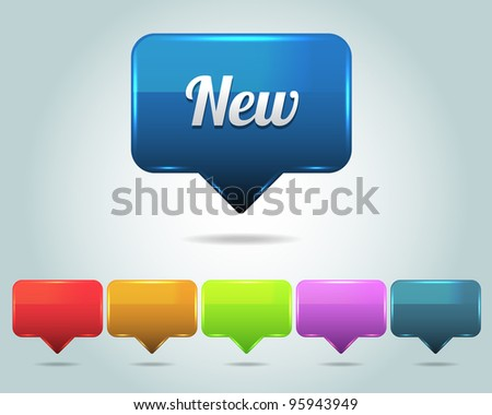 Vector Glossy New Icon/Button and multicolored