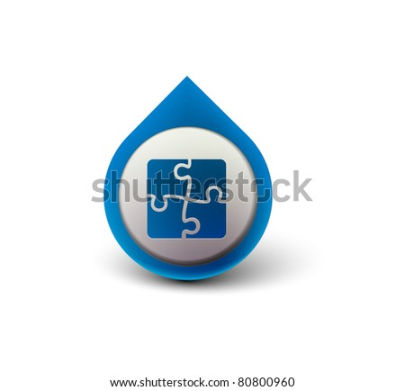 vector glossy puzzle web icon design element.