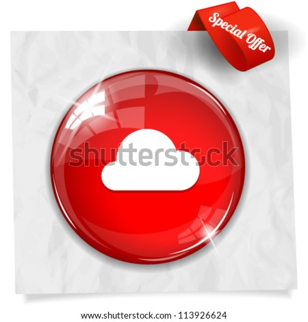 Vector glossy red round button with cloud icon on crumpled paper. Image contains transparency in lights and shadows and can be placed on every surface. 10 EPS
