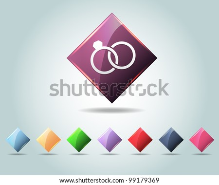 Vector Glossy Ring Icon/Button and multicolored