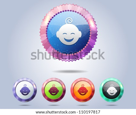 Vector Glossy Round Baby Icon/Button and multicolored