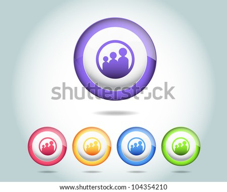 Vector Glossy Round Family Icon/Button and multicolored