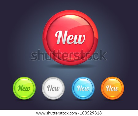 Vector Glossy Round New Icon/Button and multicolored