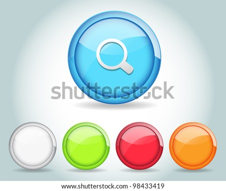 Vector Glossy Round Search Icon/Button and multicolored