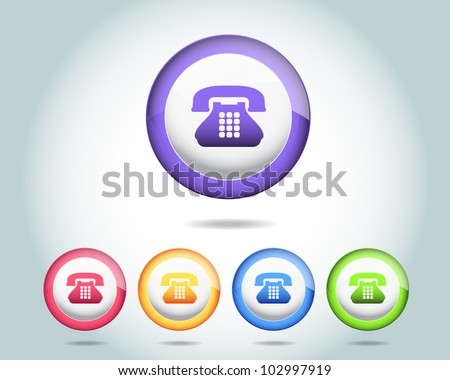 Vector Glossy Round Telephone Icon/Button and multicolored