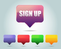 Vector Glossy Sign Up Icon/Button and multicolored