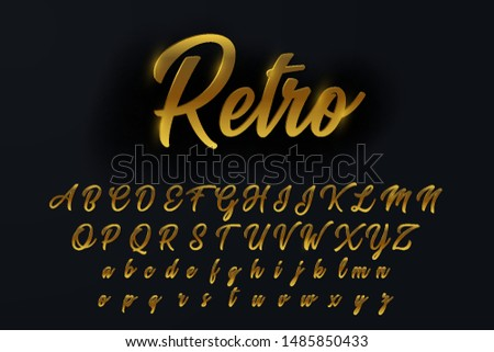 Vector glossy signVector glossy sign retro. Chic Golden rotated Alphabet Letters, Numbers and Symbols