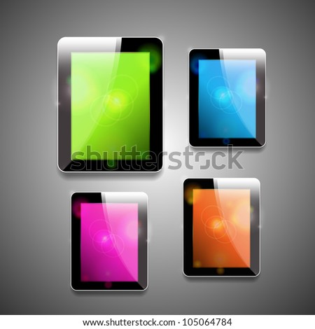 Vector glossy tablet pc with different color screens
