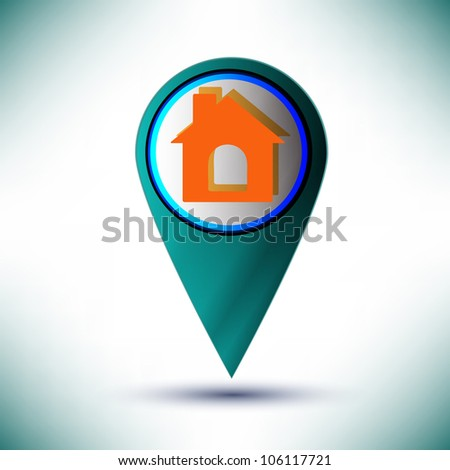 vector glossy web icon home design element on a blue background.