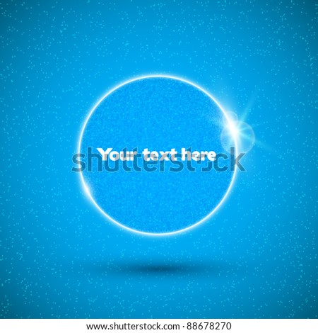Vector glossy white speech bubble on blue background