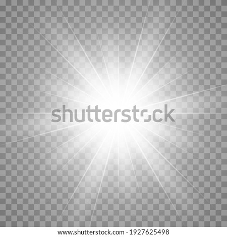 Vector glow light effect. Star burst isolated on transparent.