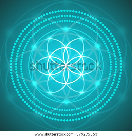 vector glowing flower of life