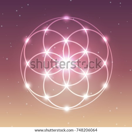 Vector Glowing Flower of Life Symbol Illustration