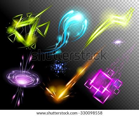 vector glowing light effect set