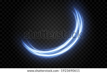 Vector glowing light lines. Neon light, electric light, light effect png. Blue line png, magical glow, shine.