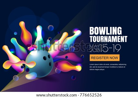 Vector glowing neon bowling tournament banner or poster with multicolor 3d bowling balls and pins. Abstract colorful shapes illustration on black background.