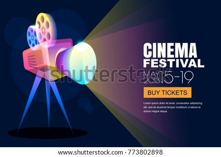 Vector glowing neon cinema festival poster or banner background. Colorful 3d style movie camera with film spotlight. Sale cinema theatre tickets, movie time and entertainment concept