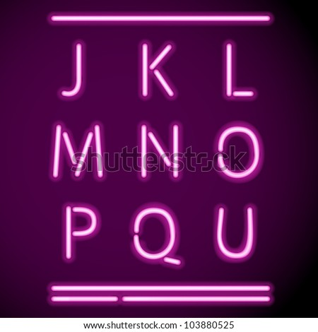 Vector glowing Neon transparent characters on dark - stock vector