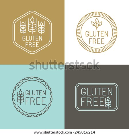 vector gluten free badges and