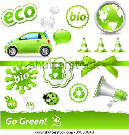 """vector """"go-green"""" set with biofuel icons"""